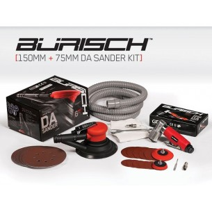 "Burisch™ Mini DA/Orbital Air Sander + 6"" 150mm DA Air Palm Sander Plus 20 free sanding discs"