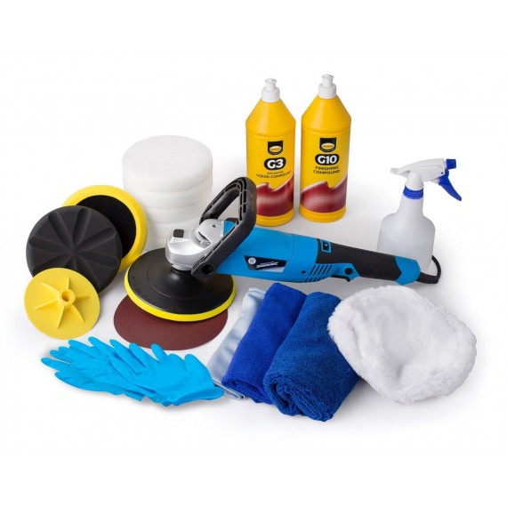 Silverline Electric Polishing kit pads polish compounds Farecla G3 + G10 1L