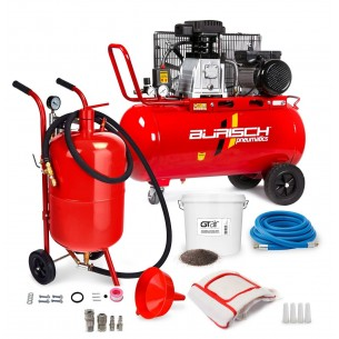 Air Compressor 90L + Full Sandblasting / Sandblaster Kit + 5kg Grit + fittings