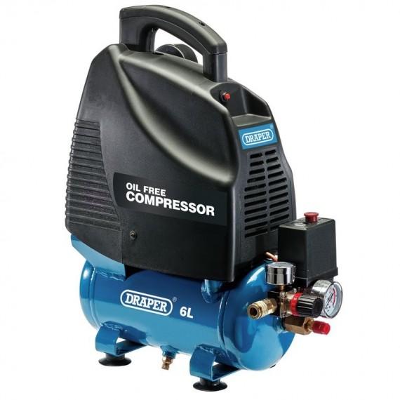 Draper 6 Litre Oil-Free Air Compressor (1.1kW or 1.5HP)