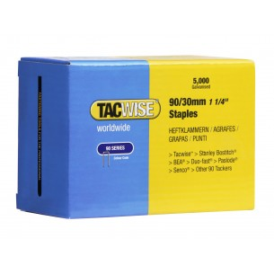 Tacwise 90 Narrow Crown Staples 30mm (5,000 Pack)