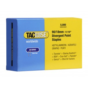 Tacwise 90 Narrow Crown Staples Divergent Point 18mm (5,000 Pack)
