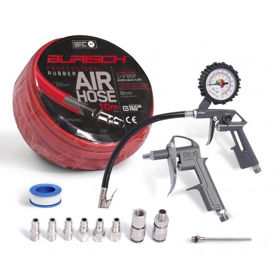 Air line / hose with Tyre Pressure Gauge Inflator, Blow Gun & 6 Air Fittings