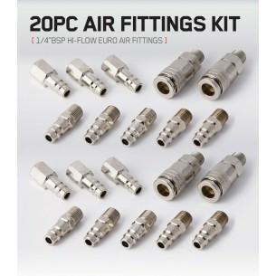 """20pc 1/4"""" BSP EURO Hi-flow Air Fittings Kit"""