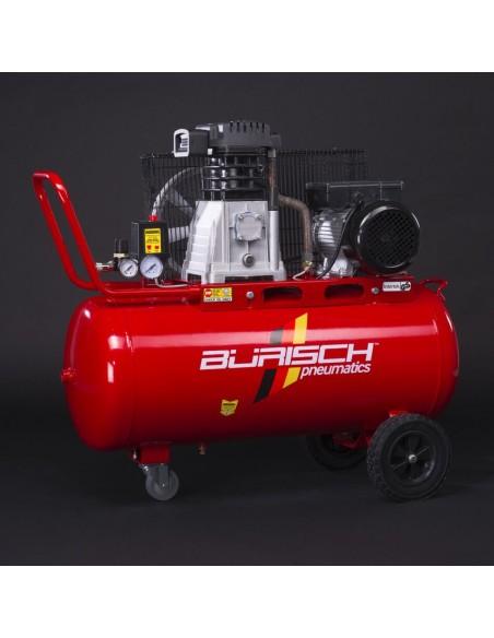 BURISCH Air Compressor 90L 3HP + 15M Retractable Airline Hose Reel