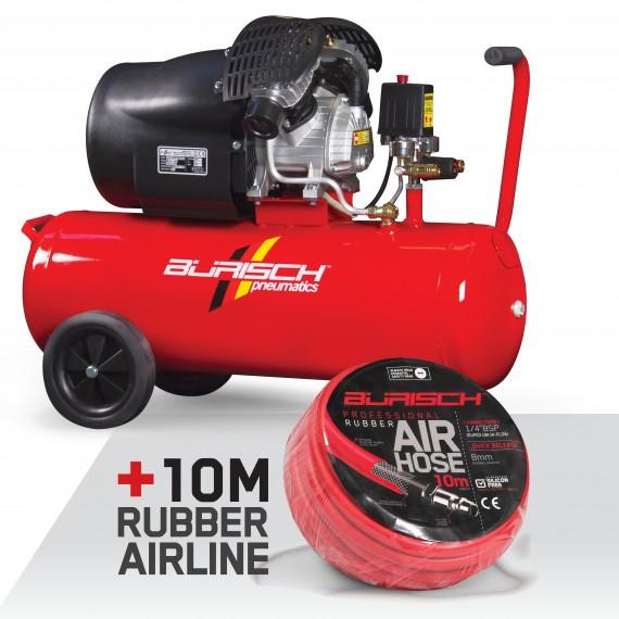 Burisch BT-350V 50 Litre 10 Bar 3HP Air Compressor Direct Drive