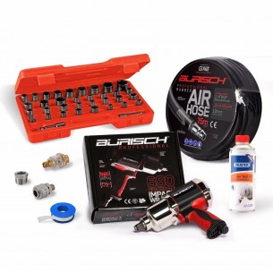BURISCH™ Professional™ 680 Air Impact Wrench + 15m Rubber air hose + 35 PCE Impact Socket set