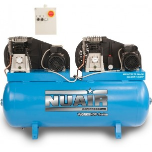 Nuair Belt Drive Tandem 2 x 3HP 270Litre 10bar 400 Volt Air Compressor