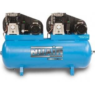 Nuair Belt Drive Tandem 2 x 3HP 270Litre 10bar 230 Volt Air Compressor