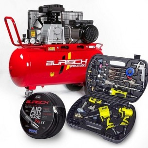 Air Compressor 3HP 90L Belt Drive Burisch + Draper 68PC Air Tool kit + 15M Hose