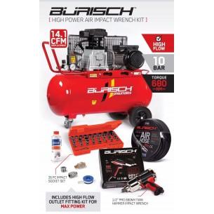 Medium Burisch 680nm Impact wrench & 90L air compressor kit