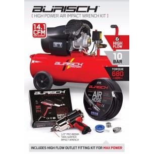 MEDIUM Burisch 680nm Impact wrench & 50L air compressor kit