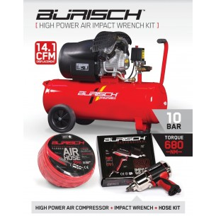 BASIC Burisch 680nm Impact Wrench & 50L air compressor kit