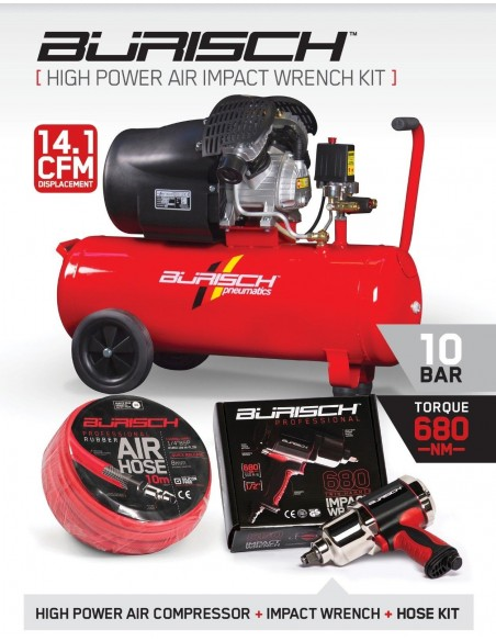 BASIC Burisch 680nm Impact Wrench & 50L air compressor kit